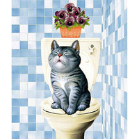 5D DIY Diamond Painting Kits Embroidery Art Cat And Toilet VM92101