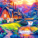 5d Diy Diamond Painting Kits Cottage Mountian Picture VM09118