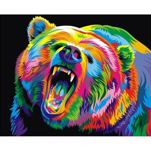 5D DIY Diamond Painting Kits Special  Watercolor Colorful Bear  VM6024