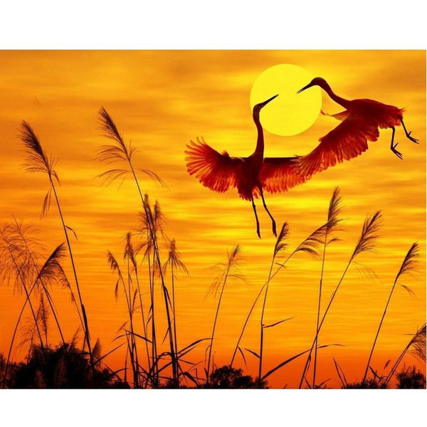 Hot Sale Full Square Drill Sunset Crane 5D Diy Diamond Painting Kits NA0067