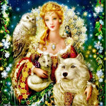 Hot Sale Full Square Beauty And Animal Wolf 5d Diy Painting Rhinestones VM1970 (1766966984794)