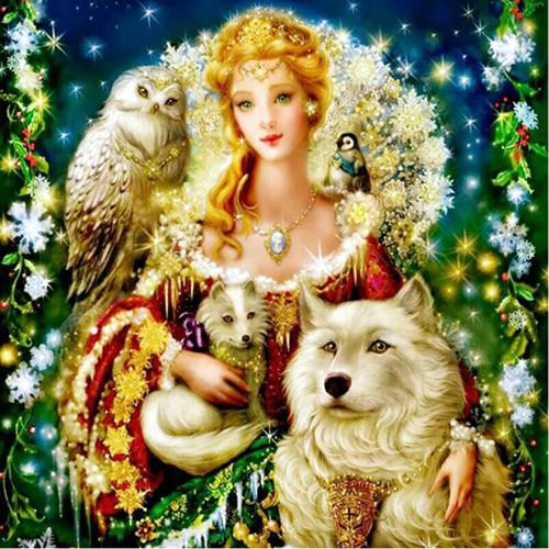 Hot Sale Full Square Beauty And Animal Wolf 5d Diy Painting Rhinestones VM1970