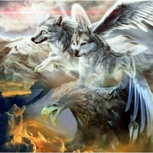 2019 5D DIY Diamond Painting Kits Wolf And Eagle VM1958
