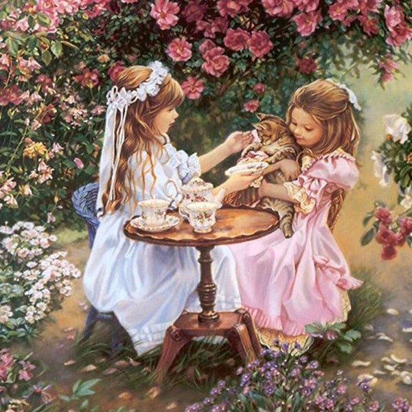 2019 5D Diy Diamond Painting Kits Baby Sisters Cat Floral VM90057