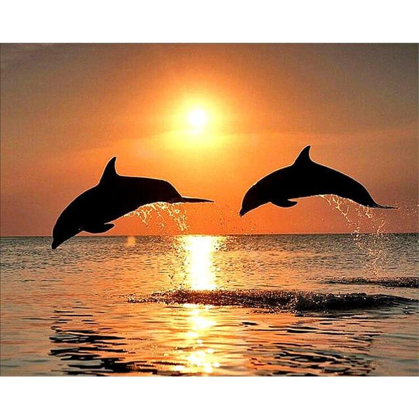 2019 5d Diy Full Diamond Painting Kits Dolphin Portrait VM8400