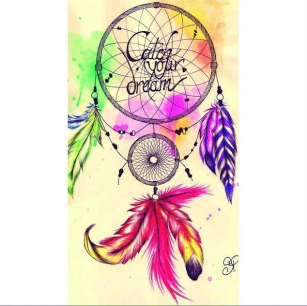 SANPAP DIY 5D Full Drill Diamond Painting Kits,Dream Catcher Feathers Wolf Color Crystal Rhinestone Diamond Embroidery Paintings Arts Craft Home Wall Decor 12x16 Inch 10P