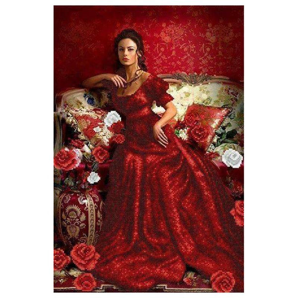 5D DIY Diamond Painting Kits Embroidery Art Red Woman VM92227