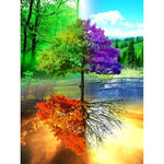Hot Sale Dream Colorful Four Seasons Tree 5d Diy Diamond Painting Kits VM9718
