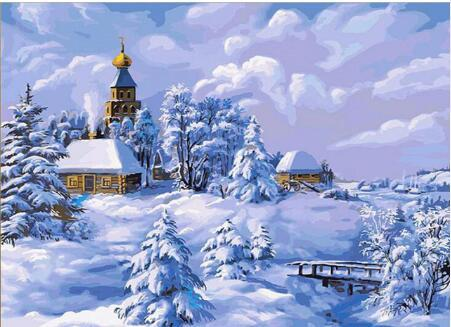 2019 5d Diy Diamond Painting Kits Snowy Village In Winter VM7630
