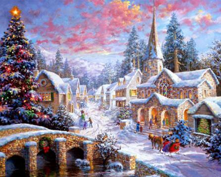 2019 5d Diy Diamond Painting Kits Snowy Countryside In Winter VM7636