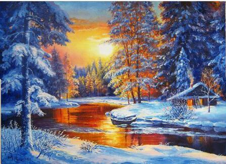 2019 5d Diy Diamond Painting Kits Snowy Forest In Winter VM7628