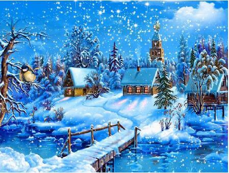 2019 5d Diy Diamond Painting Kits Snowy Village In Winter VM7624