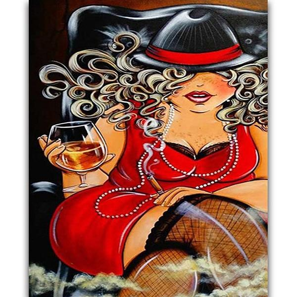 Modern Art Hot Sale Square Drill Cartoon Fat Woman 5d Diy Diamond Painting Kits VM9135