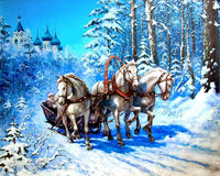 2019 5d Diamond Painting Kits Winter Cartoon Horse Snow Landscape VM8311