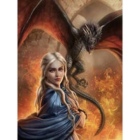 5D Diy Diamond Painting Kits Cross Stitch Cartoon Girl & Dragon VM90730