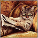 5D Diamond Painting Special Funny Cat Reading The Newspaper  VM1161 (1766941950042)
