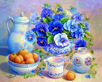 Oil Painting Style New Arrival Wall Decor Blue Flower 5d Diy Diamond Painting Kits VM7547