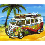 5D DIY Diamond Painting Kits Cross Stitch Seaside Bus VM88369