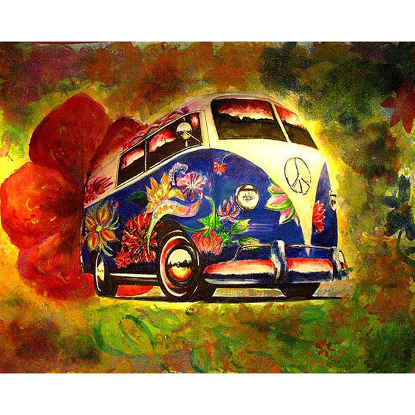 5D DIY Diamond Painting Kits Cross Stitch Seaside Bus VM90368