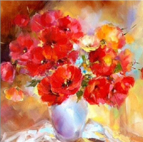 New Arrival Oil Painting Style Home Wall Decoration Red Flower 5d Diy Diamond Painting Kits VM2020 (1766974619738)