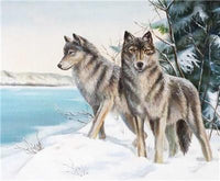 2019 5D Mosaic Diamond Painting Two Wolves In Winter VM5001