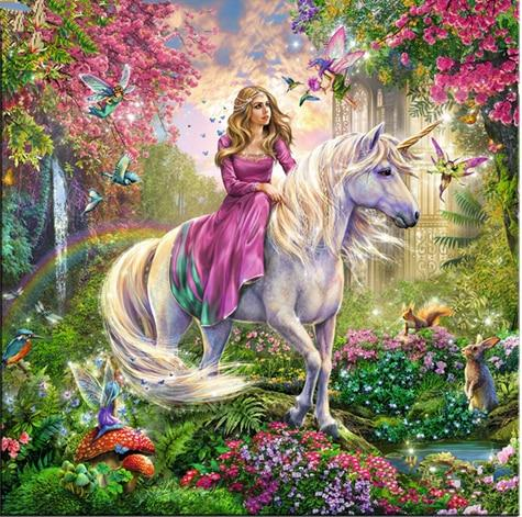 Fantasy Dream Kids Gift Decor Unicorn And Girl 5d Diy Diamond Painting Kits VM7611