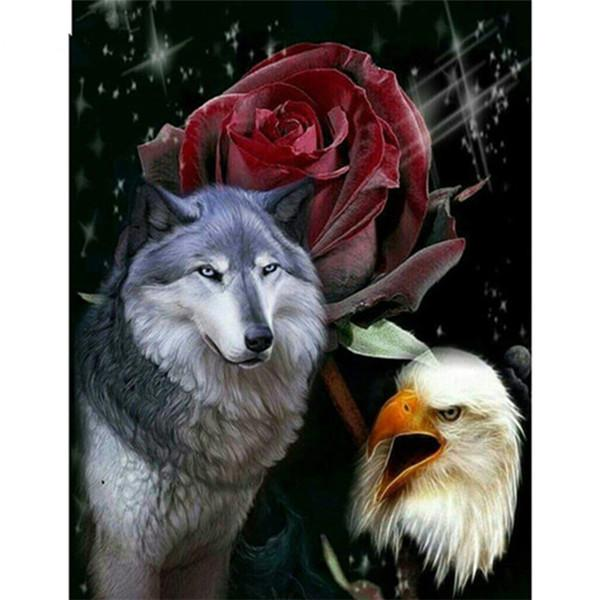2019 5d Diy Diamond Painting Kits Wolves And Eagle VM20499