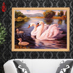5d Diamond Painting New Diy Swans Swimming VM08596