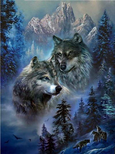 New Arrival Hot Sale Animal Wolf Pattern 5d Diy Diamond Painting Kits VM7208
