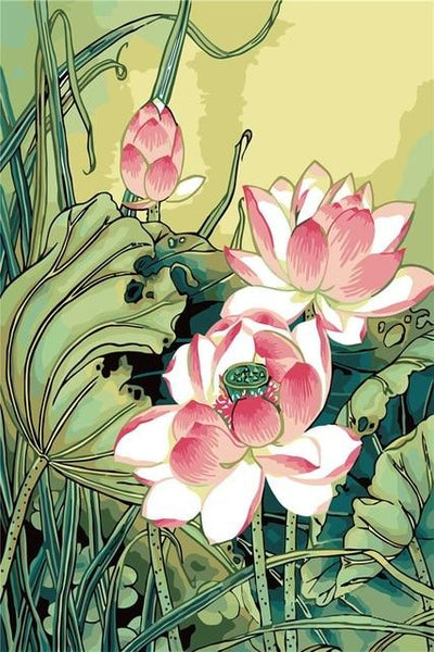 Oil Painting Style Lotus 5D Diy Cross Stitch Diamond Painting Kits NA0159