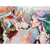 5D DIY Diamond Painting Wolf Girl Cross Stitch Kits VM91005