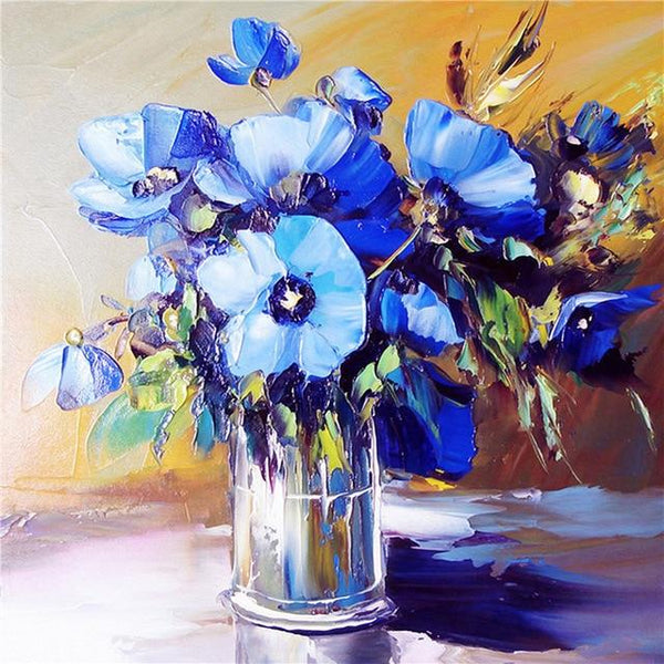 Oil Painting Style Blue Flowers 5d Diy Diamond Embroidery Kits VM4139 (1767041106010)