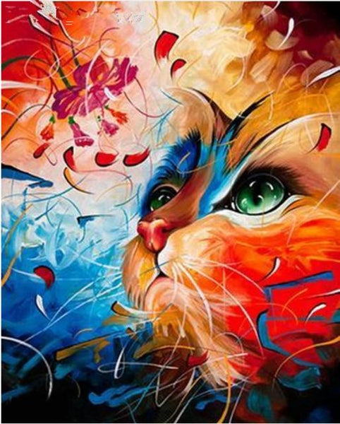 5d Diy Diamond Painting Kits Pet Colorful Cat Portrait  VM7445