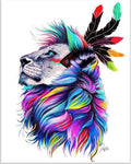 Full Drill Colorful Dream Indian Style Lion 5d Diy Diamond Painting Kits VM9639