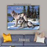2019 5D Diy Diamond Painting Two Wolves In Winter VM5000