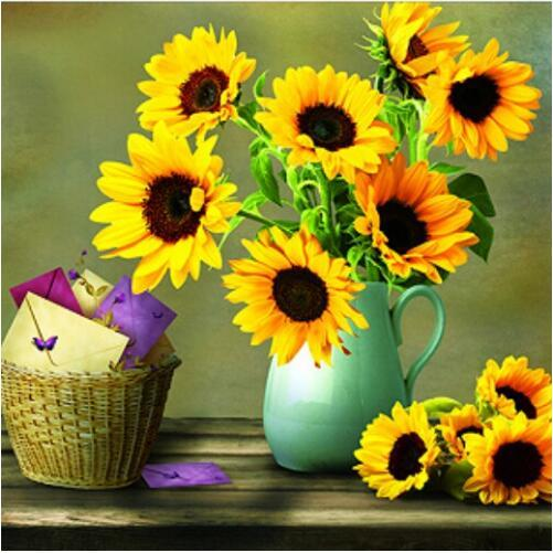 Cheap 2019 New Sunflower Pattern 5d Diy Diamond Painting Kits VM7032