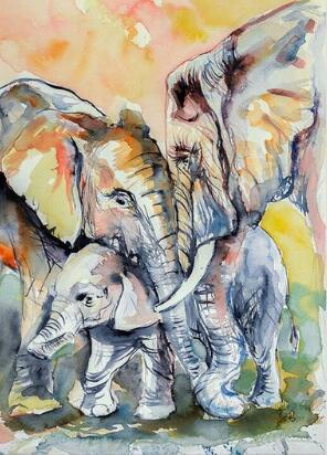 2019 5d Diy Square Diamond Painting Kits Elephant Family VM7345