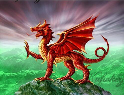 2019 5d Diy Diamond Painting Kits Red Dragon Wall Decor VM7363
