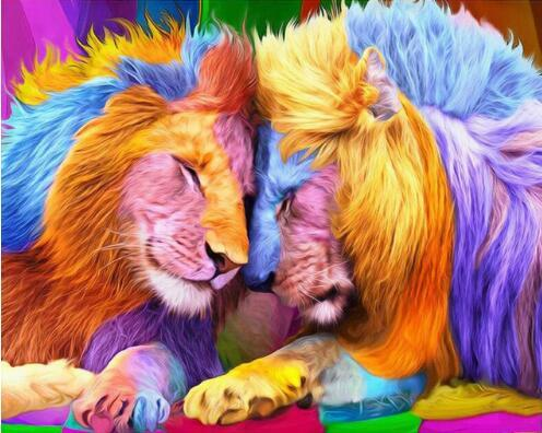 5d Diy Diamond Painting Kits Colorful Lions VM7361