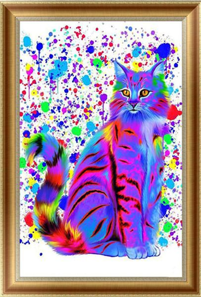 2019 5d Diy Diamond Painting Kits Wall Decor Colorful Cat VM4119 (1767038976090)