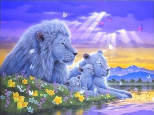2019 5d Diy Diamond Kits Wall Decor Fantasy Dream Lion Family VM3684 (1767010369626)