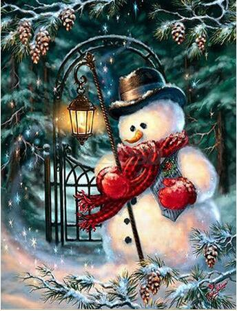 Cute Snowman Christmas Tree 5D Diy Diamond Mosaic Cross Stitch Kits VM7560