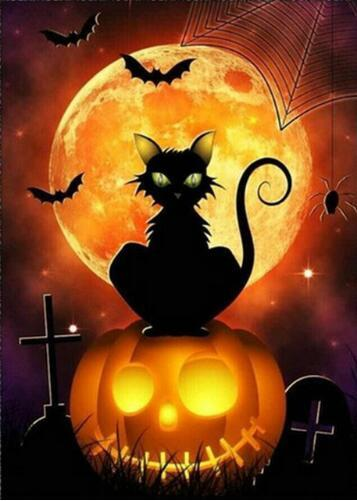New Arrival Hot Sale Halloween Cat Pumpkin 5d Diy Rhinestone Stitch Kits VM4089