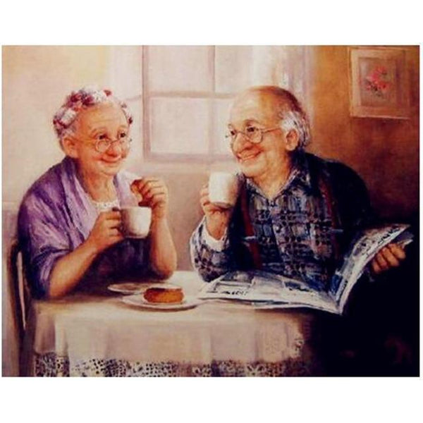 Oil Painting Style Old Couple Diy 5d Diamond Embroidery Painting Kits VM3407