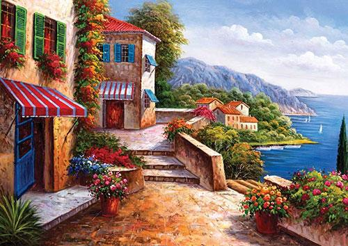 5d Diy Diamond Painting Kits Landscape Seaside Town VM9040