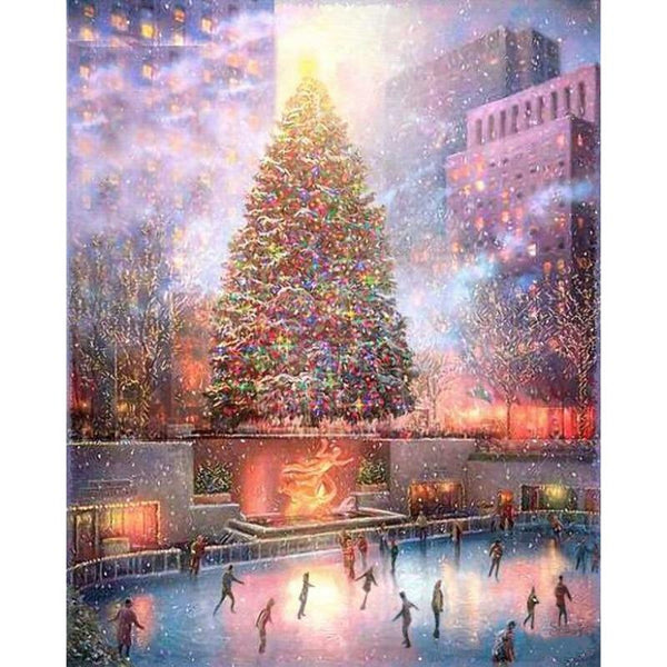 5D Diy Diamond Painting Kits Cross Stitch Art Christmas Tree Skating Rink VM90801