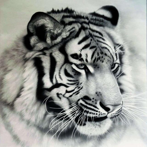 5d Diy Diamond Painting Tiger Kits Black And White Tiger VM53007