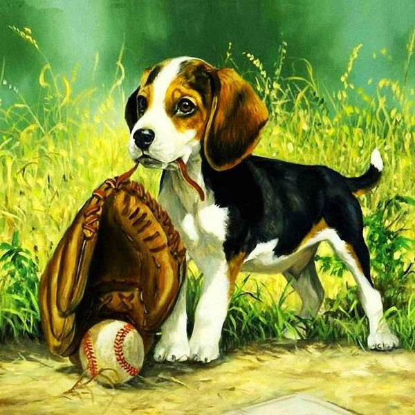 2019 5d Diy Full Diamond Painting Dogs Kits Dogs And Baseball  VM03002