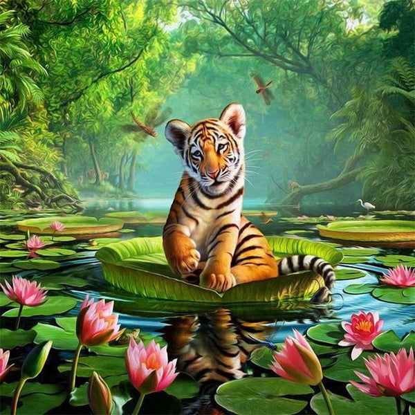 2019 5d Diy Crystal Painting Kits Cute Tiger Pattern  VM7316