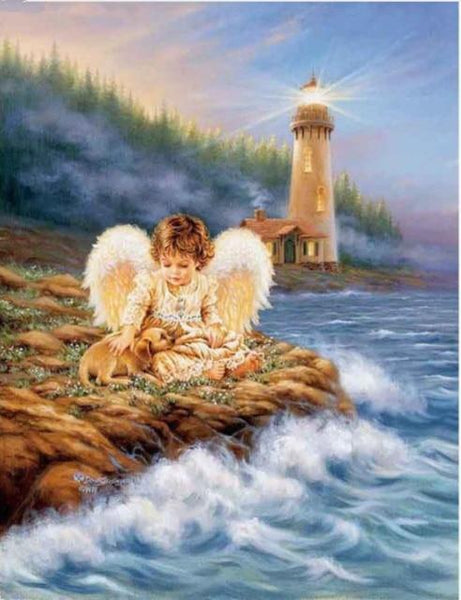2019 5d Diy Diamond Painting Kits Cute Angel Baby By The Sea VM9228